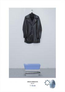 Arte contemporanea dell'artista Maurizio Di Feo. Combinazione in studio con giacca in pelle, riviste e vaschetta di plastica. Milano.