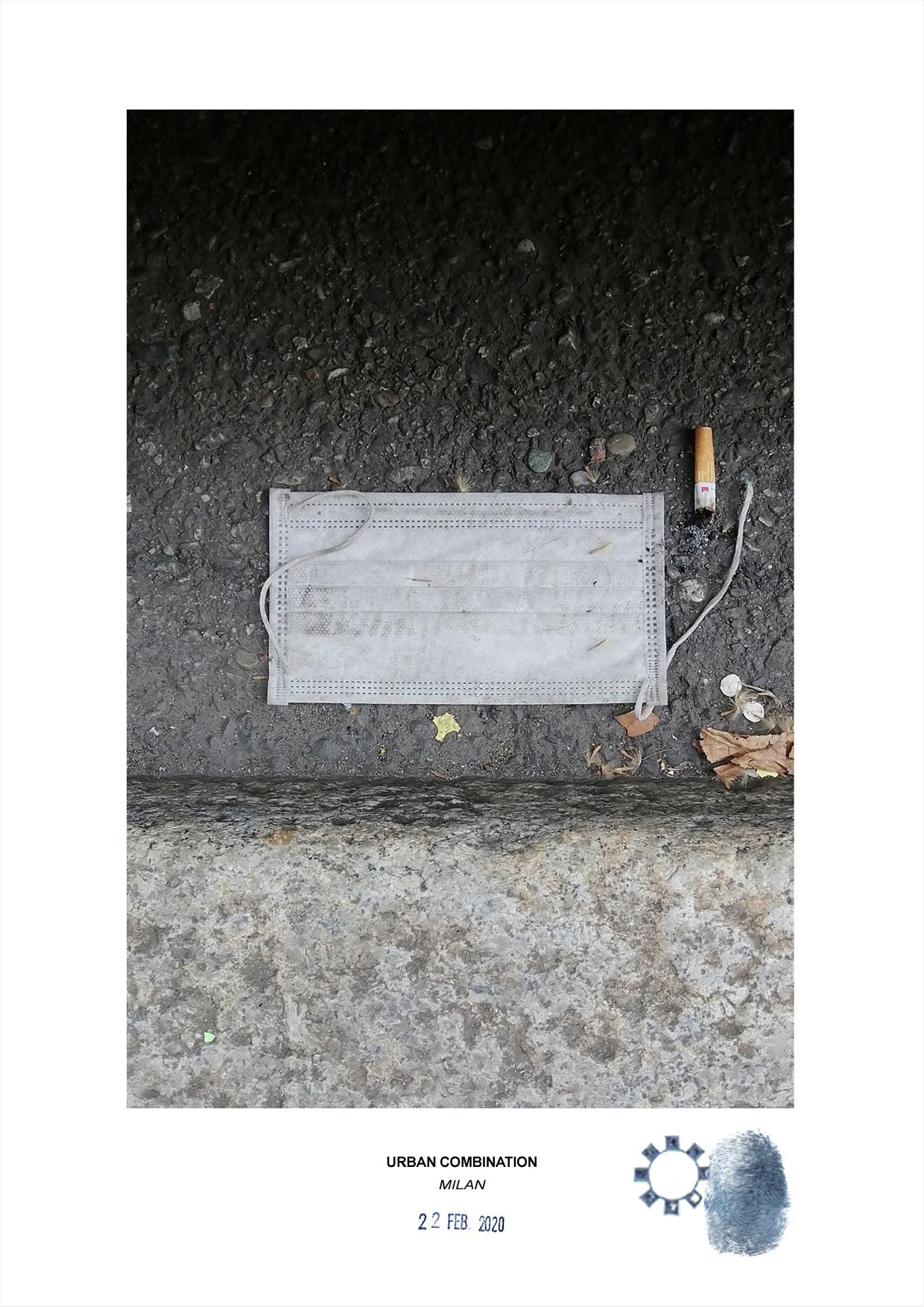 Combinazione urbana dell'artista contemporaneo Maurizio Di Feo. Combinazione urbana. Street art con installazione casuale durante la pandemia del coronavirus, Mascherina con sigarette