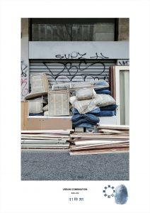Combinazioni Urbana dell'artista contemporaneo Maurizio Di Feo. Installazione d'arte spontanea con mobili, sedie,cuscini e divani accatastati a Milano.