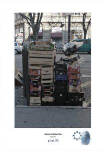 Arte contemporanea Maurizio Di Feo. Combinazione urbana. Inciviltà ai tempi del coronavirus a Milano.Installazione d'arte casuale con cassette di frutta vuote