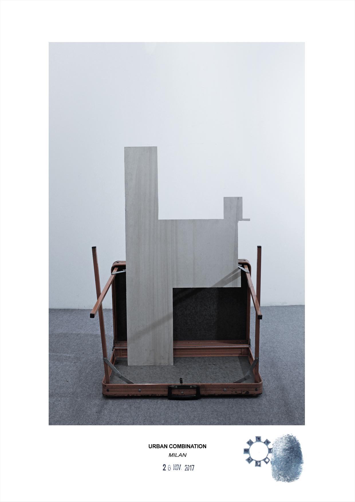 Arte contemporanea dell'artista Maurizio Di Feo. Combinazione in studio con tavolino richiudibile e compensato. Milano.
